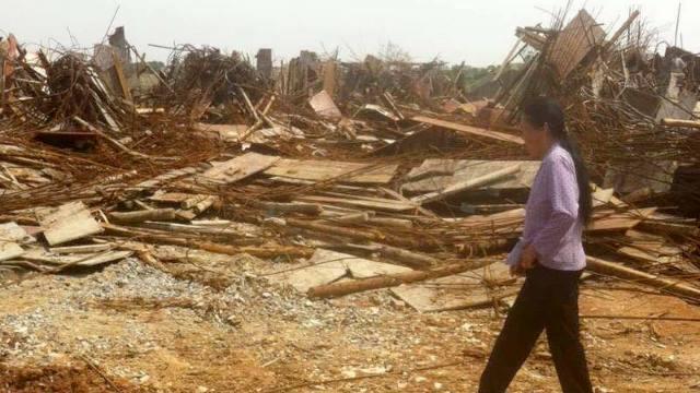 La chiesa cattolica demolita e lasciata in macerie (foto da fonte interna)