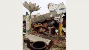 La statua di Guanyin dopo l'esplosione (a cura di una fonte interna)