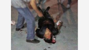 Zhang Zhongsu a terra, picchiato dalla polizia (immagine presa da Internet)