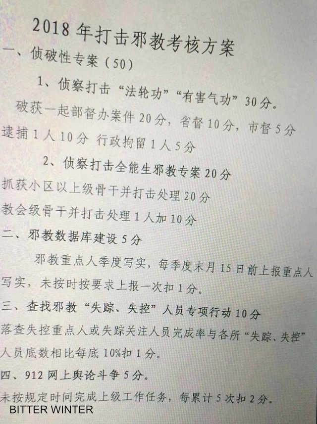 Prima pagina del piano di valutazione per combattere le fedi religiose rilasciata dall'Ufficio per la sicurezza nazionale