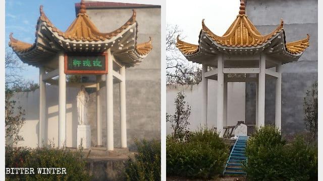La statua della Santa Vergine, prima e dopo la demolizione