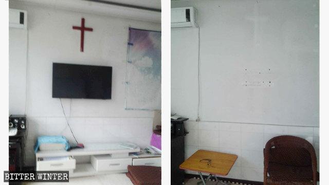 Il luogo degli incontri nella casa della signora Han, nella città di Liaoyang, prima e dopo il raid della polizia