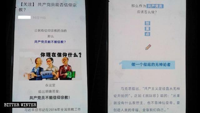 Materiali di propaganda diffusi da una scuola nella Cina nordorientale: i membri del Partito Comunista non possono essere credenti