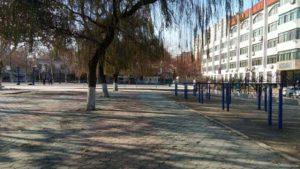 Un angolo del campus universitario di Zibo