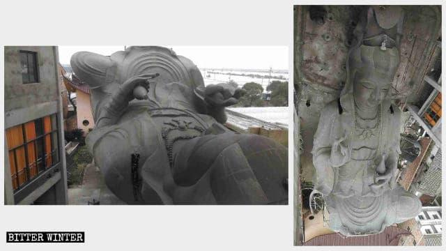 La statua di Guanyin a terra dopo essere stata completamente fatta a pezzi