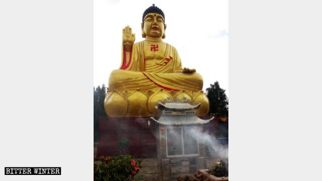 L'aspetto originale della statua seduta dello Shakyamuni bronzeo ad Anning
