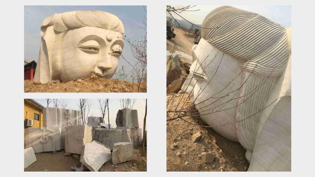 La statua della Guanyin fatta a pezzi