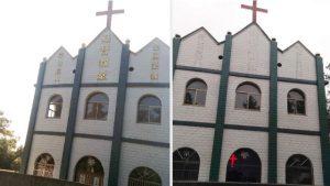 Le parole religiose sono state eliminate da questa chiesa nella città di Chizhou