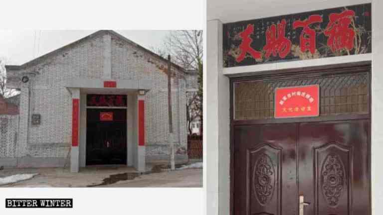 Il cartello «Centro attività culturali» sulla porta della chiesa cattolica nel villaggio di Zhaojiatai