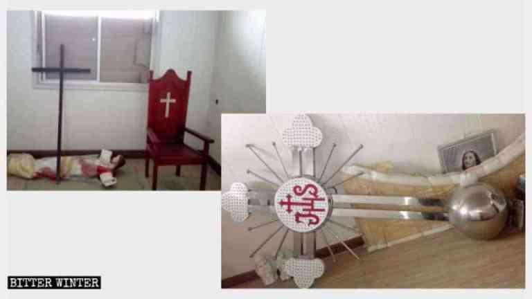 La croce e i simboli religiosi di un'altra chiesa cattolica nella contea di Qishan sono stati rimossi