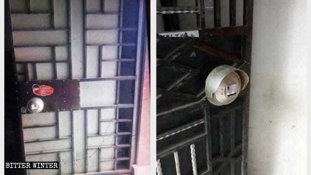 Dispositivi di sorveglianza posizionati sulla porta di una proprietà in affitto nel Fujian