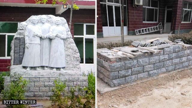 Le statue erette dai fedeli per commemorare i tre santi sono state rimosse