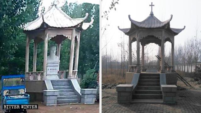 Padiglione nella chiesa cattolica nella contea di Wuyi prima e dopo la rimozione della statua del santo