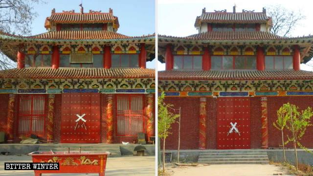 Gli accessi anteriore e posteriore al tempio di Fojing sono stati sigillati con il nastro adesivo