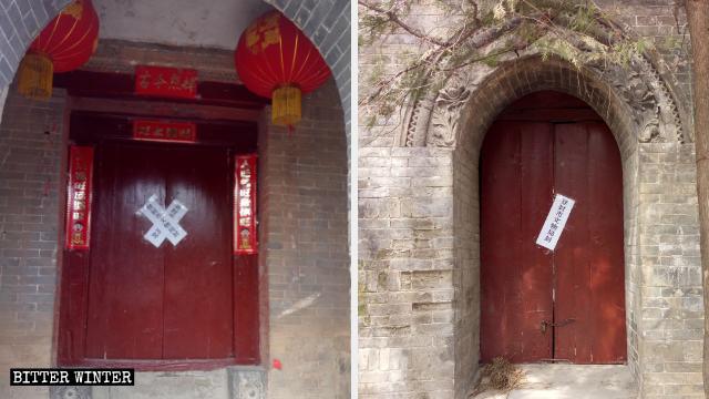 L'ingresso principale del tempio Lianhua è stato chiuso