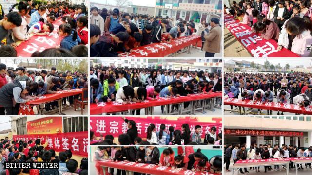 Gli studenti delle scuole primarie e secondarie del borgo di Gaoxin scrivono il proprio nome sul cartellone nelle cerimonie delle firme, con la promessa di non entrare mai in luoghi di incontro religioso