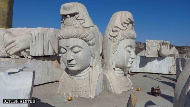La statua di Guanyin è stata distrutta