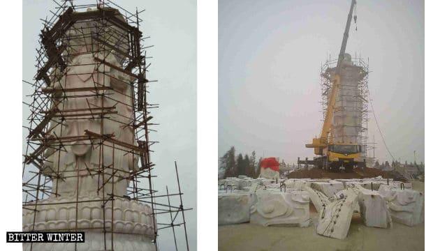 La statua in pietra di Guanyin dai quattro volti è stata distrutta