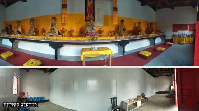 Le statue buddhiste del tempio sono state poste dietro un muro di lamiera