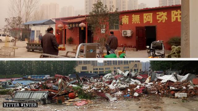 Il tempio Deshan prima e dopo la demolizione