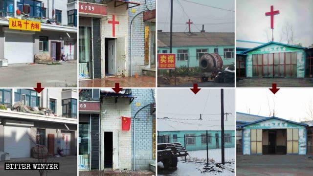 Immagini raffiguranti le croci smantellate nella città di Shuangyashan