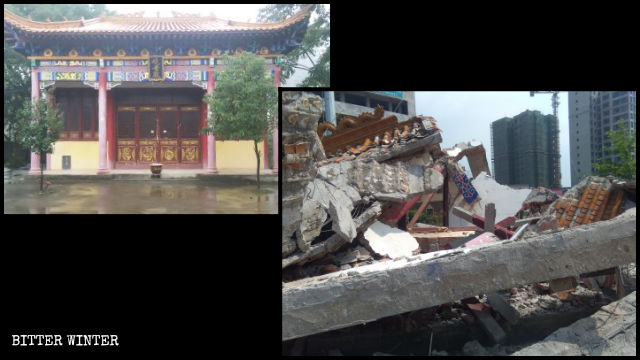 Il tempio della Guanyin, prima e dopo la demolizione