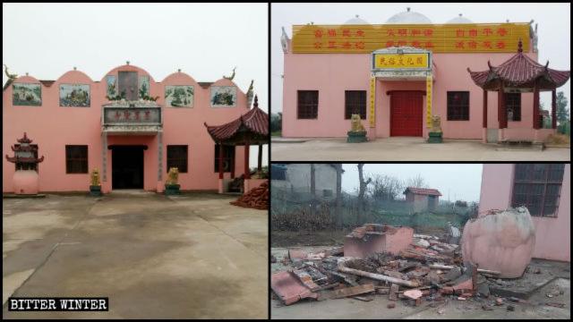 """L'aspetto originale del tempio di Momosheng; l'insegna """"Tempio Momosheng"""" è stata sostituita da un cartello con la scritta """"Parco della cultura popolare""""; i dipinti religiosi sopra l'entrata sono stati sostituiti con slogan politici che inneggiano ai """"Valori centrali del socialismo""""; il fornello dove si bruciava l'incenso è stato distrutto"""