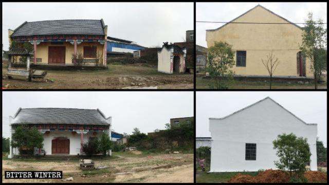 L'aspetto originale del santuario buddhista; i muri esterni dipinti di bianco; il fornello dell'incenso e un piccolo tempio dedicato agli dei della terra che si trovavano di fronte al santuario sono stati demoliti