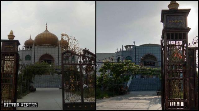 La moschea della contea Puyang prima e dopo la demolizione delle cupole e dei simboli della stella con la mezzaluna