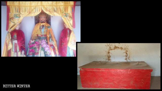 Il tempio Shiyu prima e dopo la rimozione delle statue al suo interno