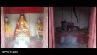 La statua della Guanyin nel tempio Shengquan prima e dopo essere smantellata