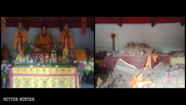 Statue buddhiste nella Sala della Grande Forza del tempio Shengquan prima e dopo essere state distrutte