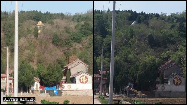 La statua del Buddha del villaggio di Shangzhuang prima e dopo essere stata nascosta