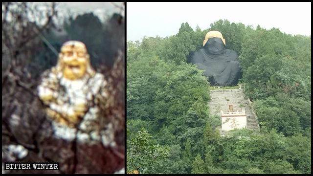 La statua del Buddha Maitreya nella valle di Liuxian prima e dopo la copertura