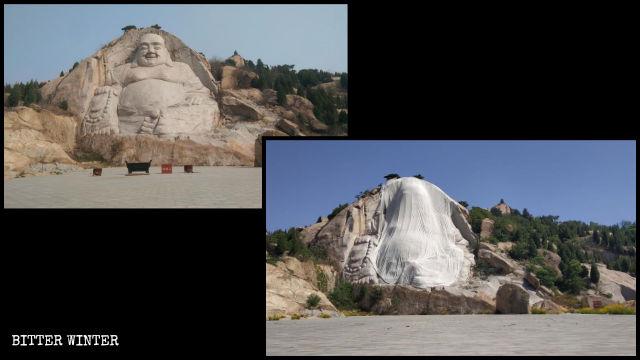 La statua del Buddha Maitreya sul monte Ink Stone prima e dopo la copertura