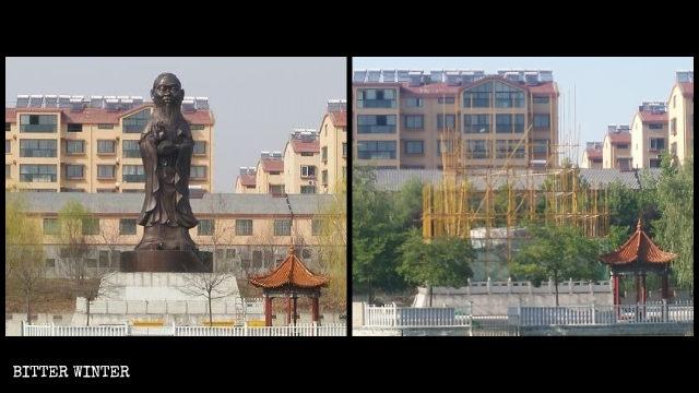 La statua ibrida con il corpo della Guanyin e la testa di Confucio è stata demolita