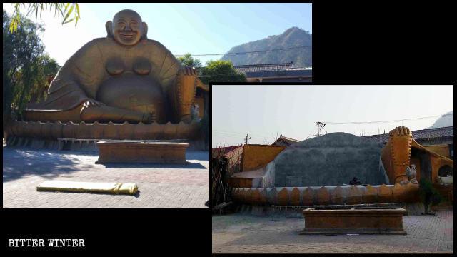 Il Buddha Amitabha in un tempio sul monte Jingzhong è stato demolito