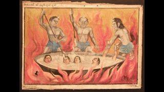 Una rappresentazione buddhista di demoni che, all'Inferno, torturano chi ha compiuto azioni vergognose
