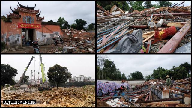 Il tempio di Fuxing in fase di demolizione