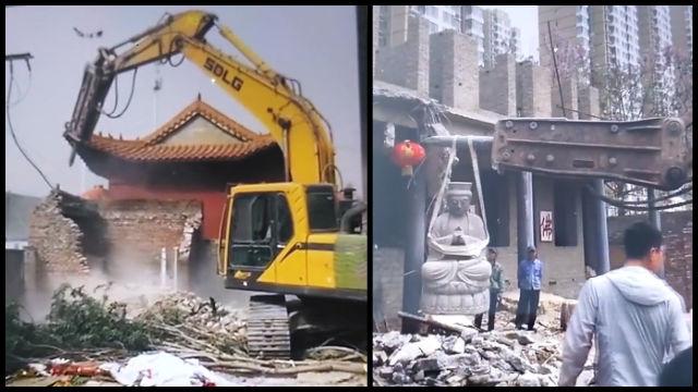 Screenshot di un video su WeChat che mostra il Tempio di Zhantan distrutto
