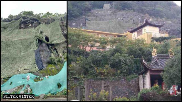 Le statue degli Arhat del tempio Zhenlong sono state coperte