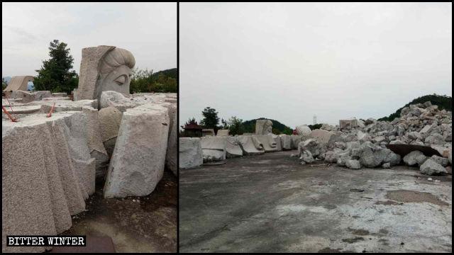 La statua della Guanyin è stata ridotta in frantumi