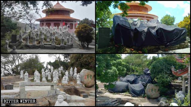 Le statue degli Arhat del tempio buddhista di Dongming prima e dopo la copertura