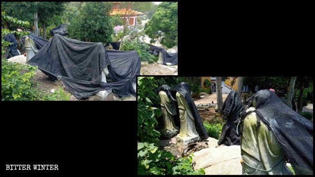Le statue degli Arhat del tempio buddhista Dongming sono state coperte