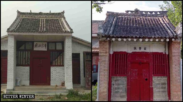 Due templi nella città di Fengming sono stati trasformati in magazzini