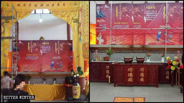 Le statue buddhiste sono coperte da manifesti di propaganda con slogan sui «valori centrali del socialismo» e ritratti di Xi Jinping