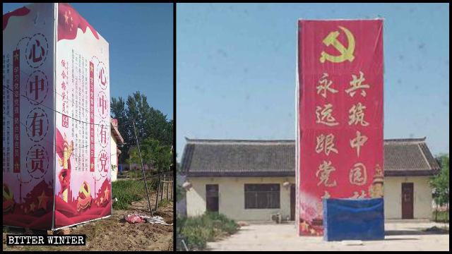 Slogan come «Segui sempre il Partito» ricoprono le statue buddhiste