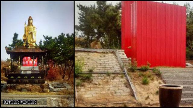 Una statua buddhista del tempio Yuanming è stata coperta con fogli di lamiera rossa