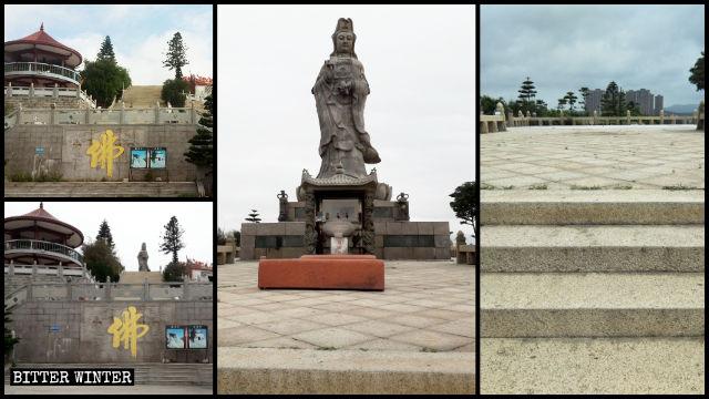 Il ìcomplesso monumentale Hongyan prima e dopo la demolizione della statua della Guanyin che stilla acqua