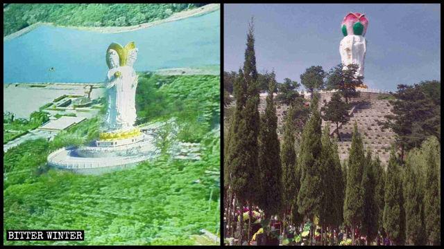 La testa della statua della «Guanyin a quattro facce» è stata trasformata in un fiore di loto